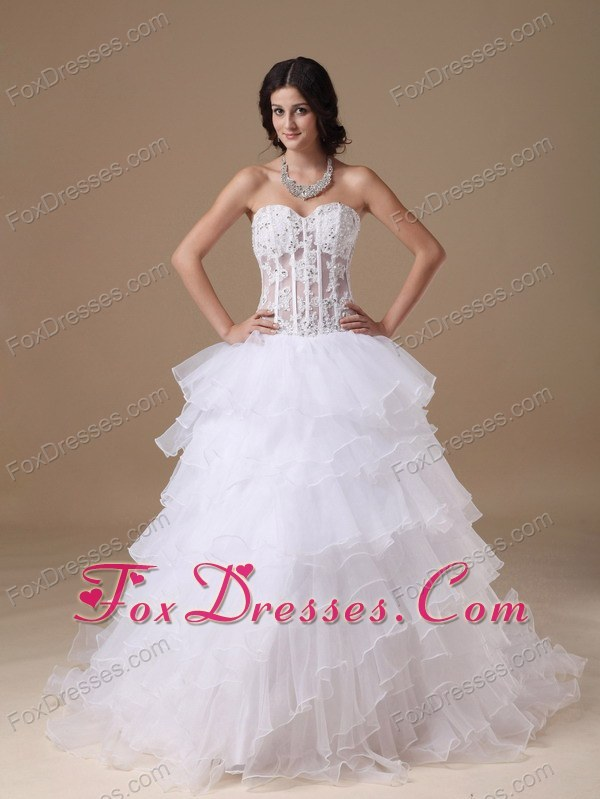 Sexy Sheer Bodice Organza Layers Bridal Gown