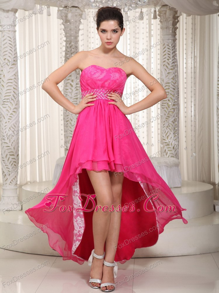 Hot Pink Empire Sweetheart High-low Chiffon Evening Dress
