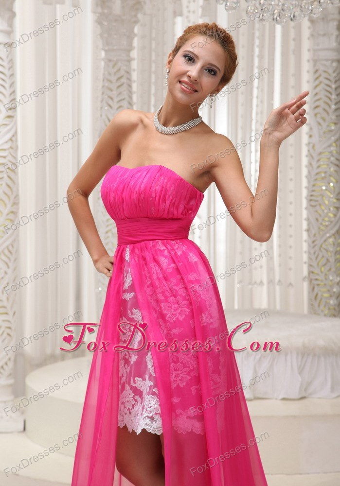 Hot Pink Ruched Strapless High-low Prom Dress For 2013