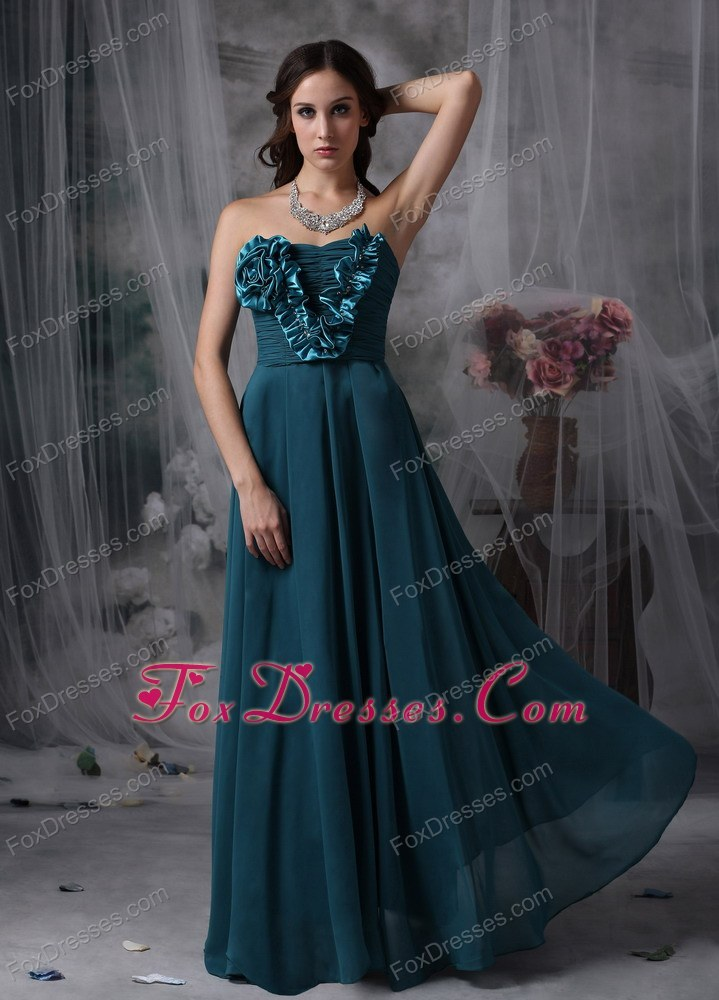 Turquoise Strapless Chiffon Hand Flowers Prom Evening Dress