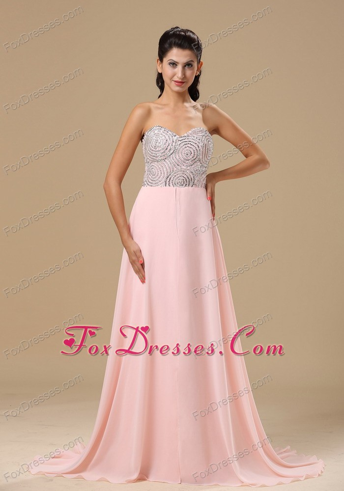 Neckline Light Pink Chiffon Prom Evening Dress