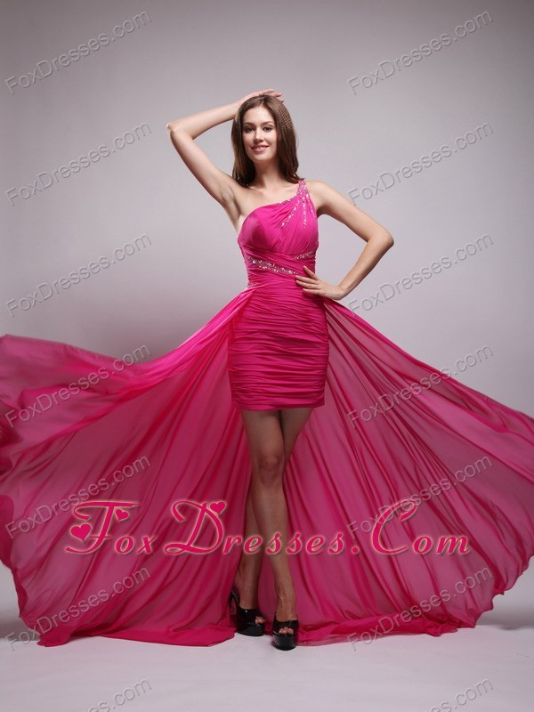 Hot Pink Brush Train Chiffon Beading High-low Prom Evening Dress Ruched