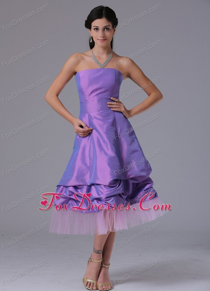 Lavender Bowknot Two-toned Fabric Latest Bridesmaid Dresses