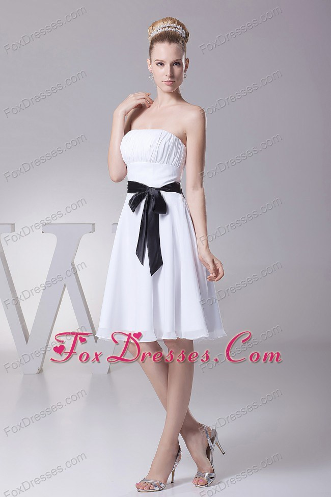 Ruched Strapless Chiffon Bridesmaid Dress in White and Black