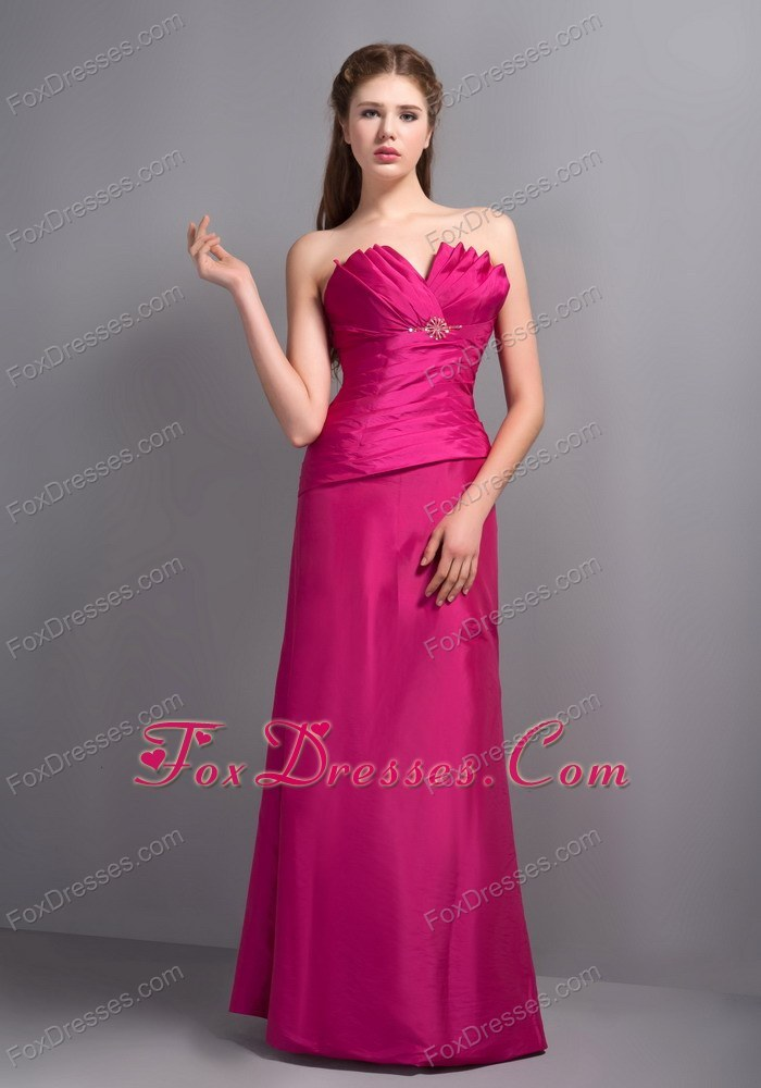 Hot Pink Asymmetrical Column Ruched Bridesmaid Dresses