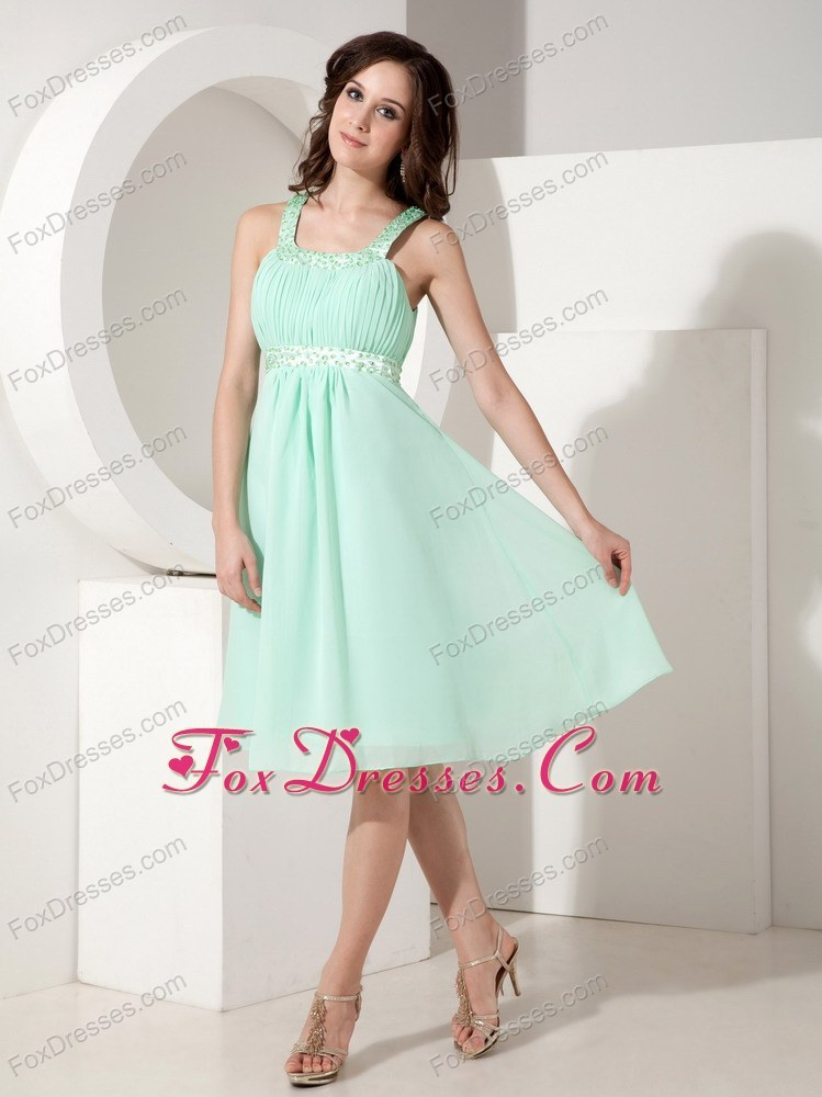 Beautiful Green Chiffon Beading Bridesmaid Dresses Straps