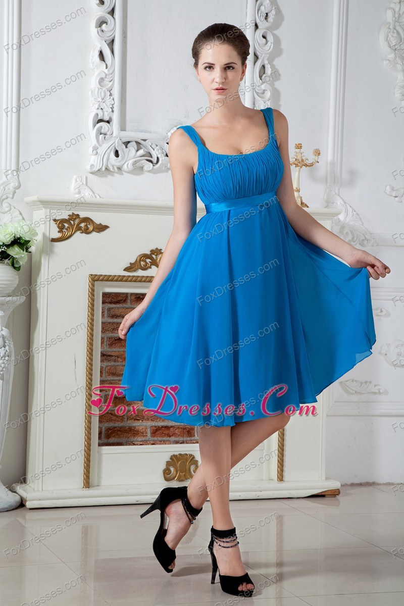 Teal Empire Ruched Chiffon Bridesmaid Dresses with Straps