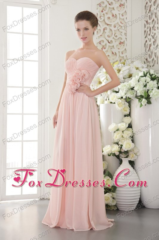 Flower Chiffon Pink Empire Sweetheart Bridesmaid Dresses