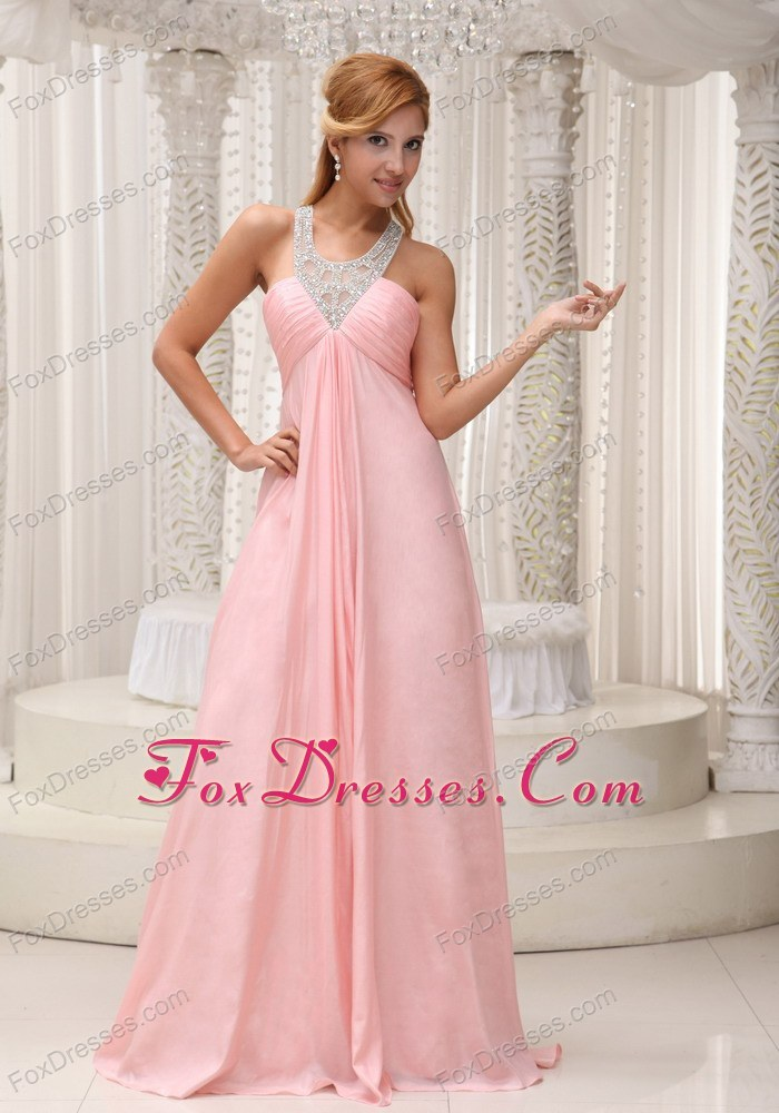 Scoop Baby Pink Ruche Prom Celebrity Dresses Beading