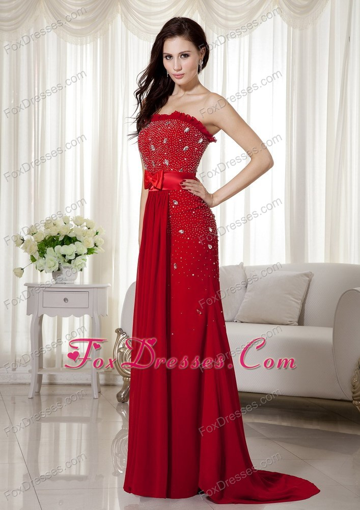Bowknot Wine Red Strapless Brush Train Celebrity Pageant Dress