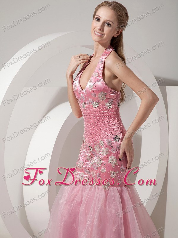 Mermaid Pink Halter Beading and Appliques Prom Celebrity Gown
