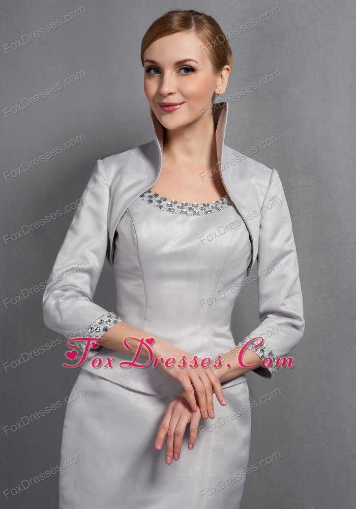 Gray scoop knee length mother dress for wedding with jacket for Mother in law wedding dresses