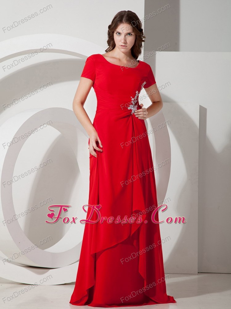 Square Brush Red Wedding Outfits For Brides Mother With Applique