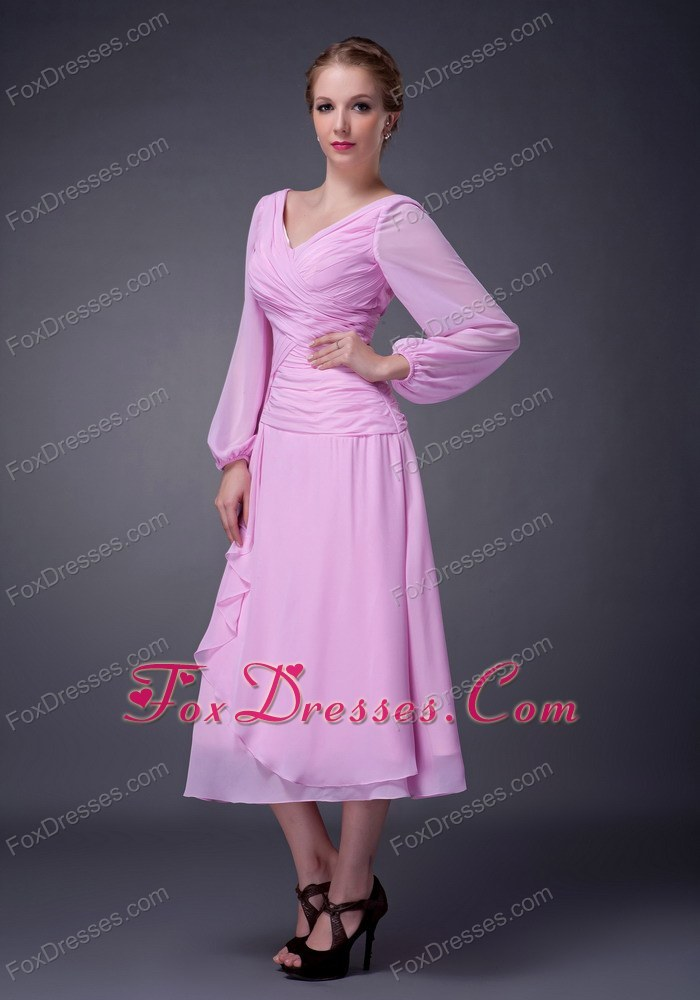Pink Empire V-neck Tea-length Mother Skirts with Puff Sleeves