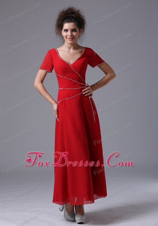 Column Red Ankle-length Mother of the Bride Dress