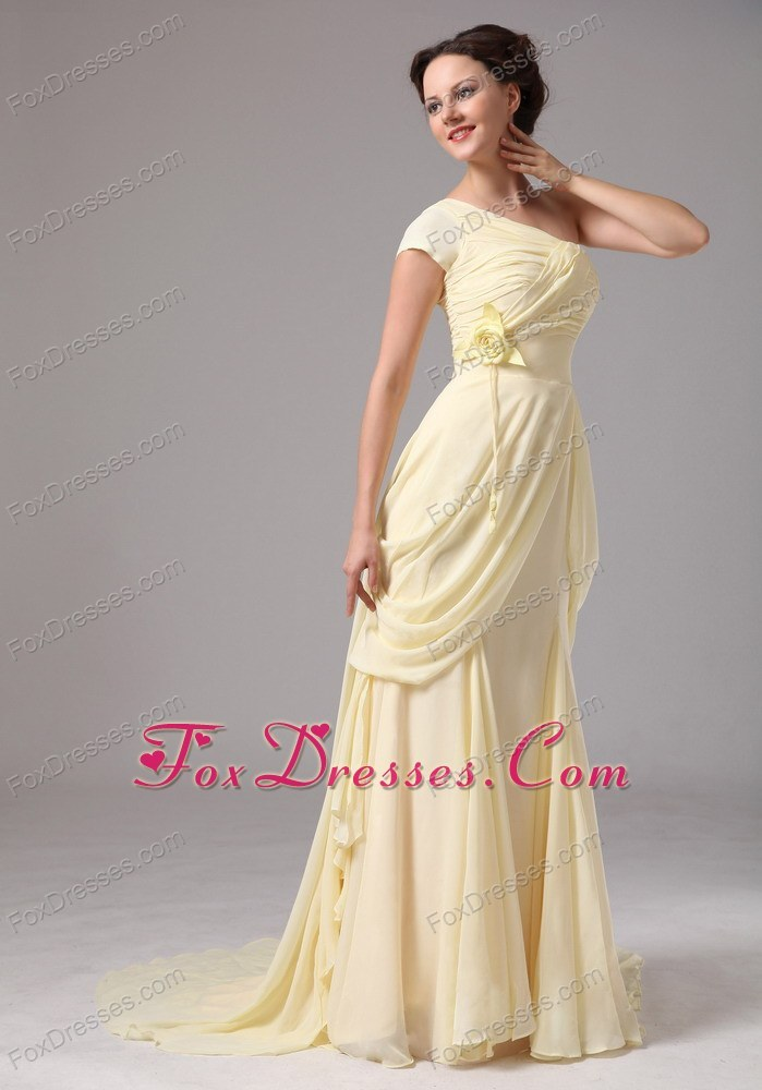 Shoulder Chiffon Yellow Mother of the Bride Dress