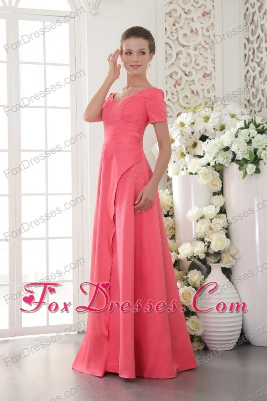 Coral Red Long Mother Of The Bride Dress Column Scoop