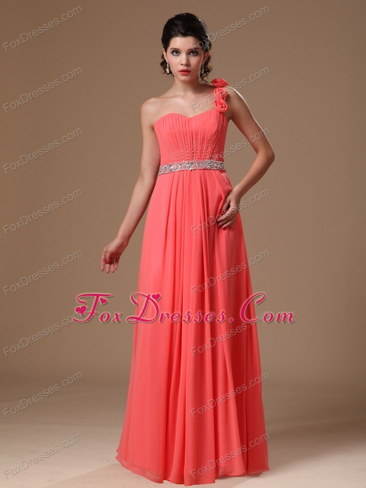 Cheap One Shoulder Watermelon Beaded Flowers Prom Gown