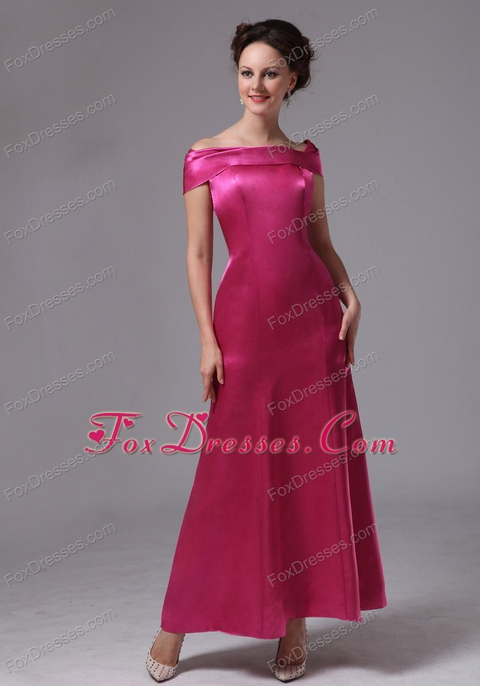 Cheap Hot Pink Off The Shoulder Ankle-length Prom Dress
