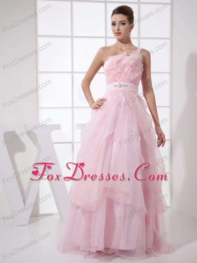 One Shoulder Floor-length Light Pink Prom Dresses Organza