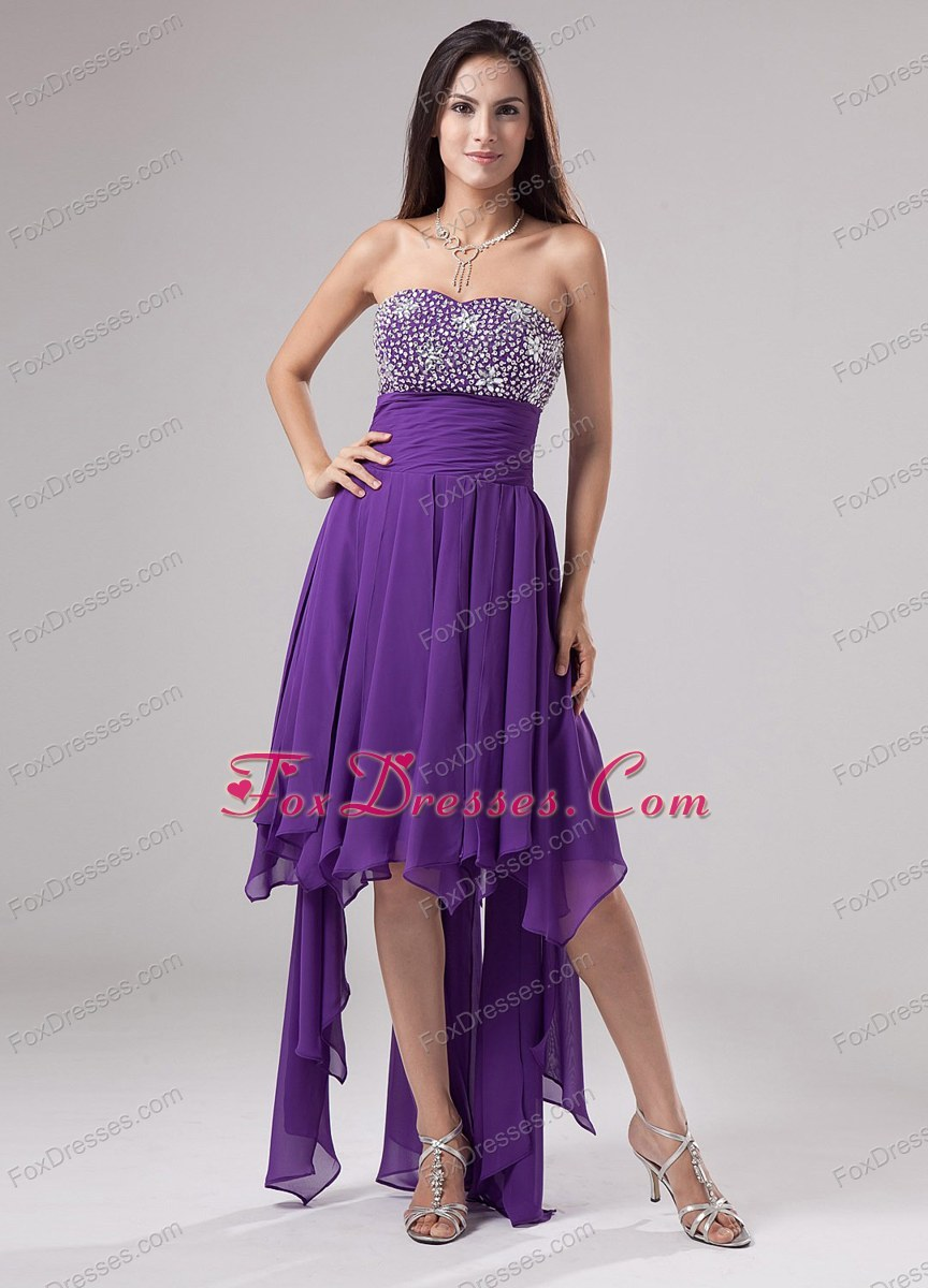 Lovely Cheap Purple Prom Dress Strapless Beaded Ruch 2013