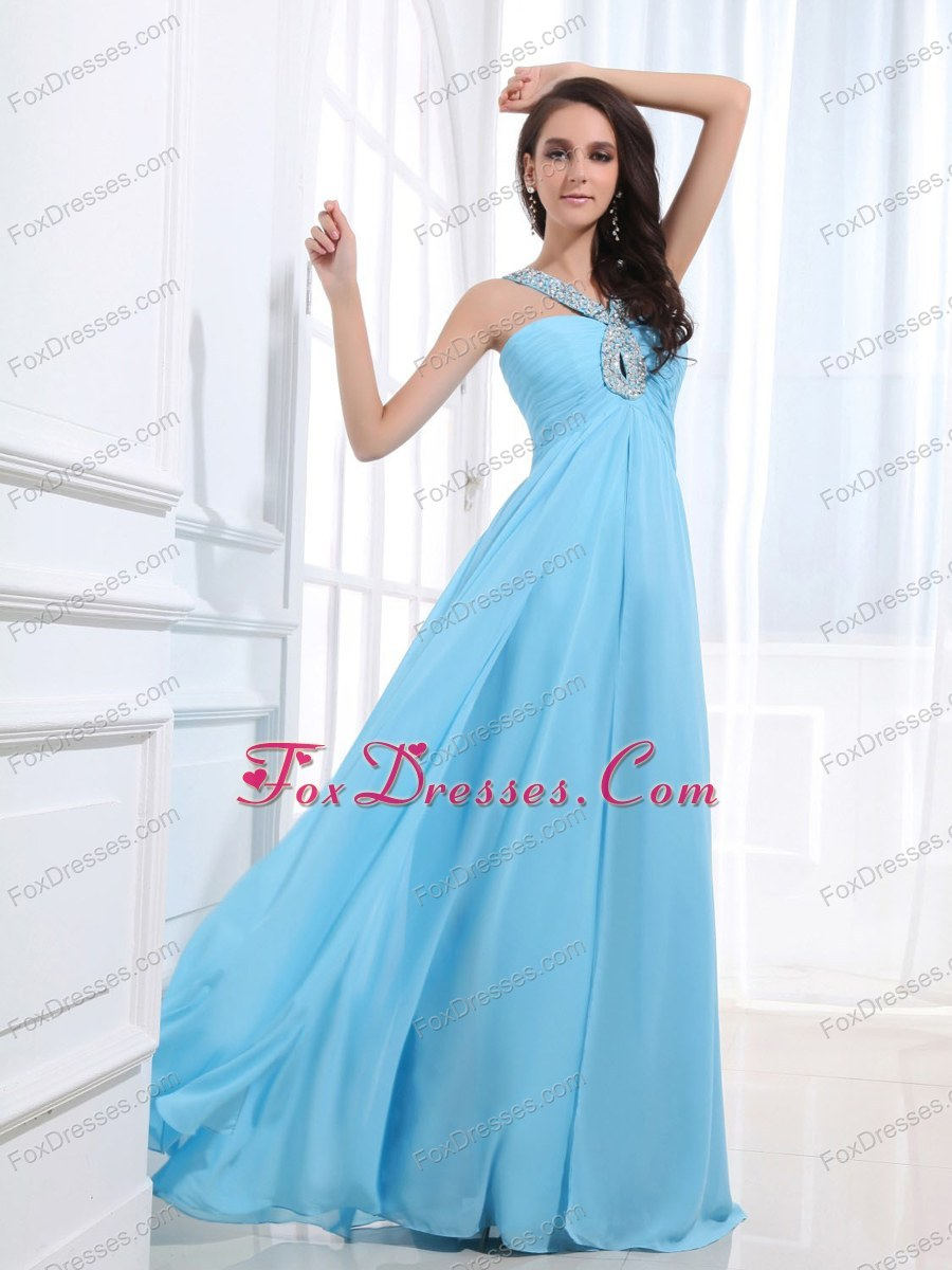 Simple Custom Made Baby Blue Cheap Beaded V-neck Prom Dress