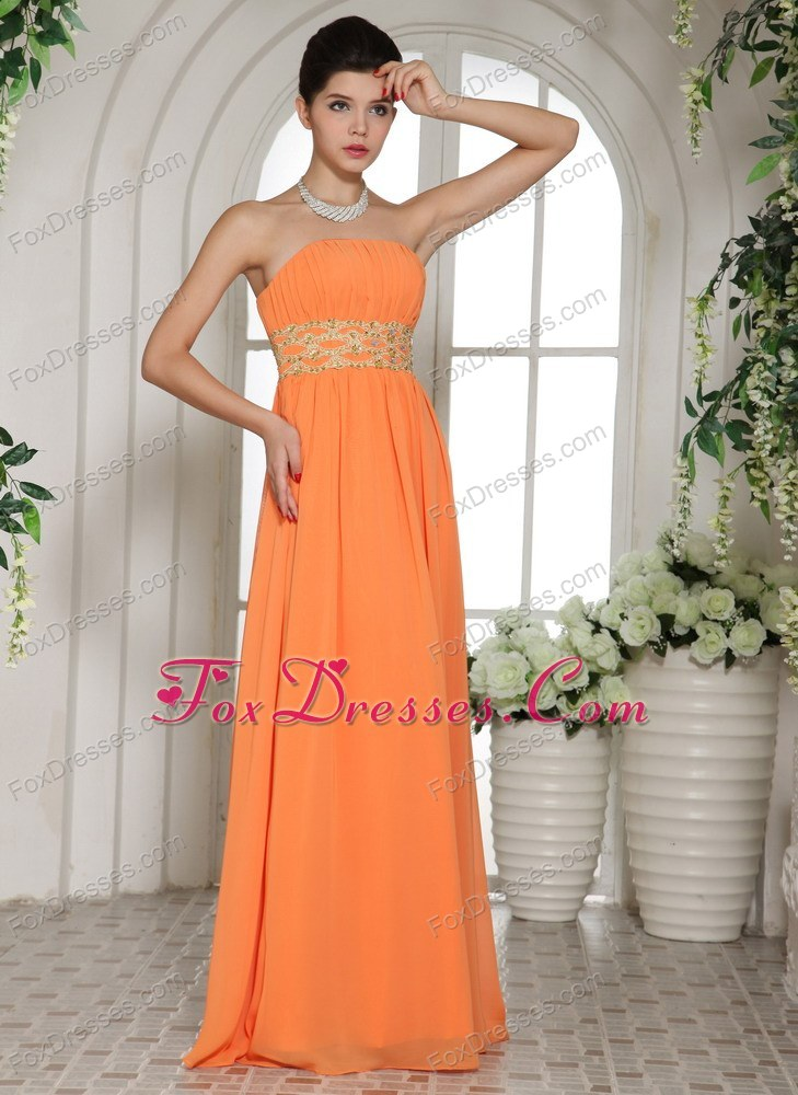 Orange Red Cheap Beading and Ruching Prom Dress With Strapless