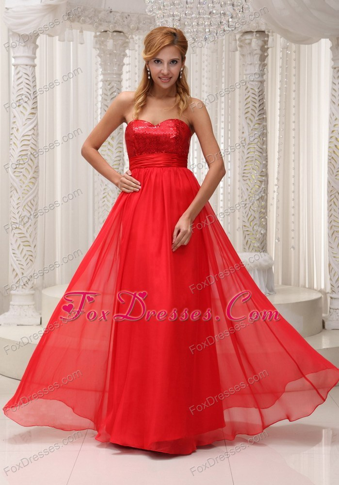 Cheap Sequin Sweetheart Red Chiffon Prom Evening Dress For 2013