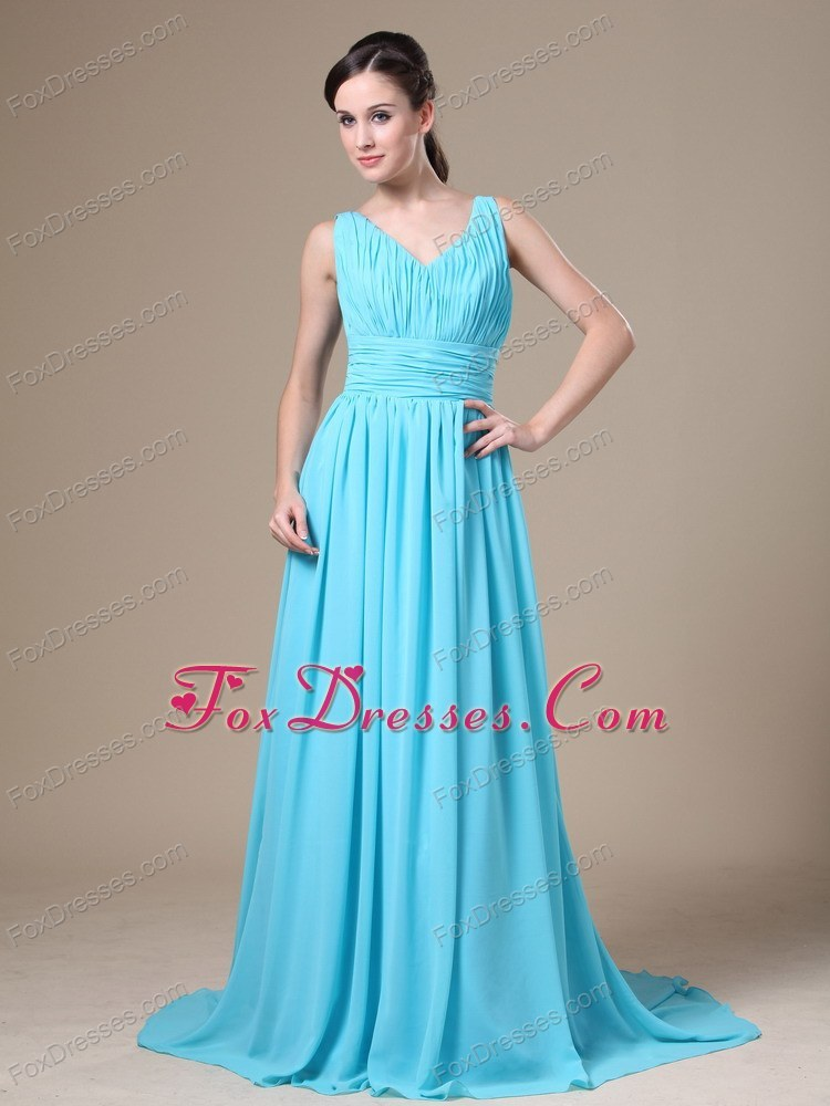 Aqua Blue V-neck Ruching Prom Dress Cheap