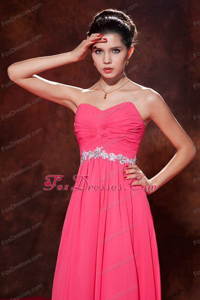 Coral Red Empire Prom Pageant Dress With Sweetheart Chiffon