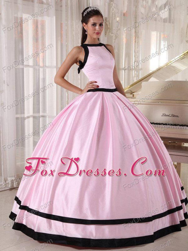 Baby Pink and Black Cheap Taffeta Quinceanera Dress