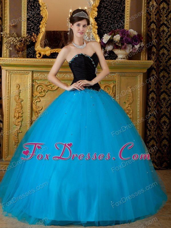 Simply Turquoise and Black Sweetheart Quinceanera Dress