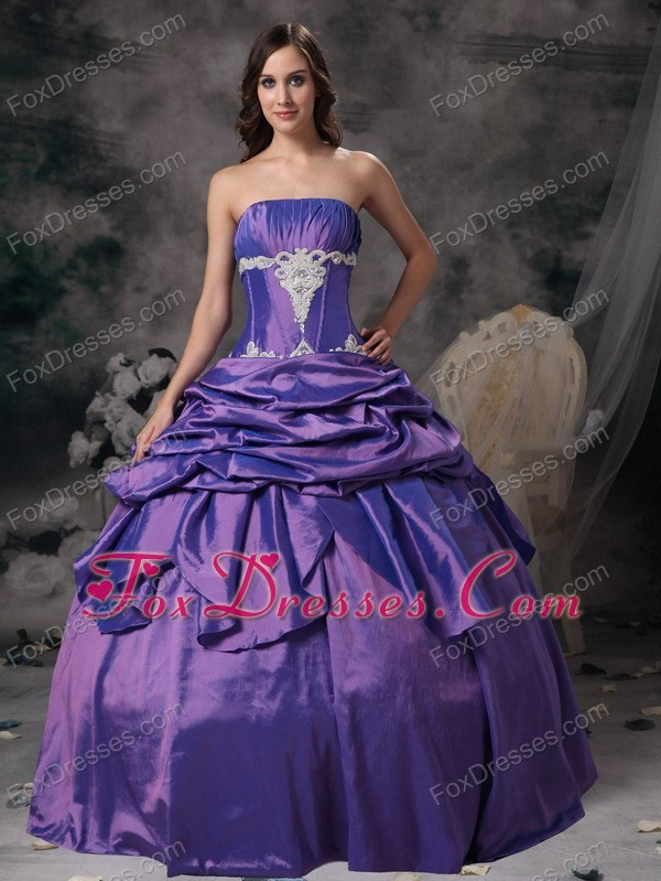 Purple Cheap Strapless Taffeta Appliques Prom Evening Dress