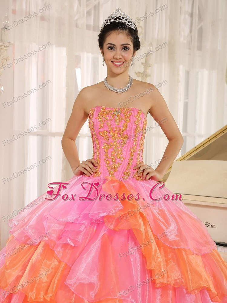 Ruffled Layers 2 Colored Quinceanera Sweet 16 Dress