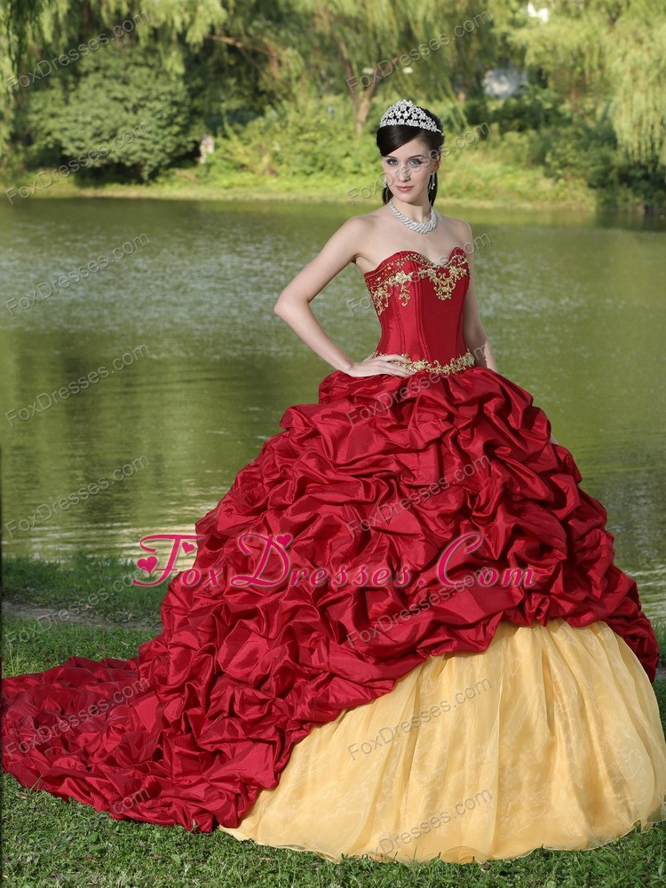 Gold and Wine Red Pick-ups Quinceanera Dress with Train