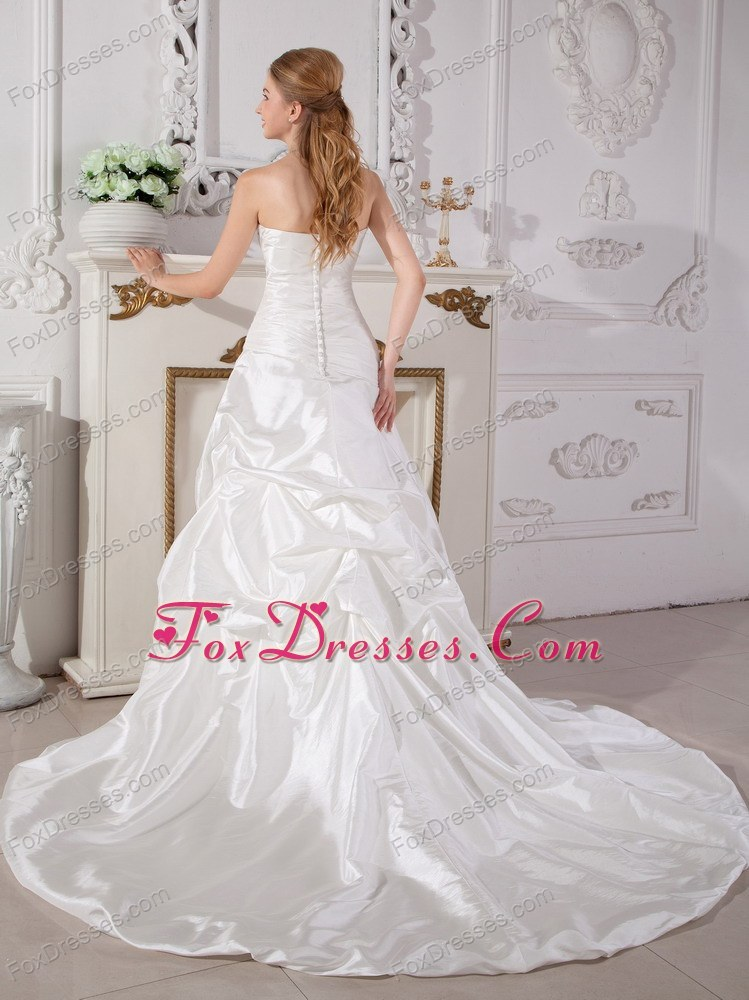 fitted waist court train customized wedding gown