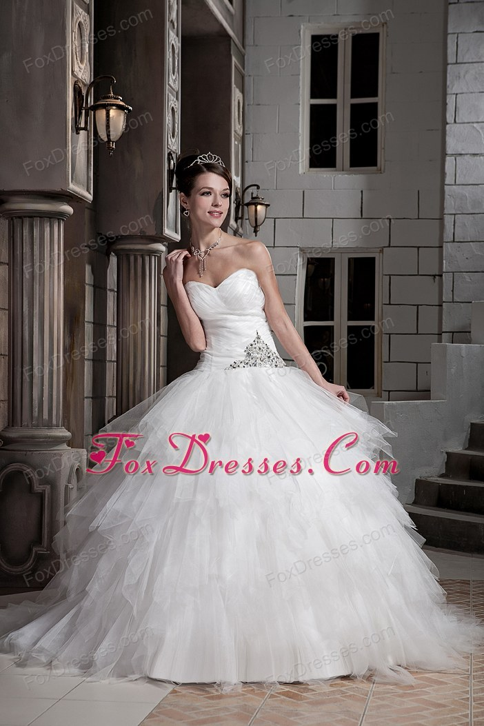 Cheap Sweetheart Wedding Gown Dress Court Train Tulle