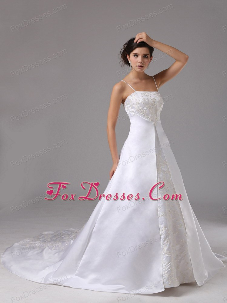 Spaghetti Straps For Wedding Dress Lace Satin Court Train