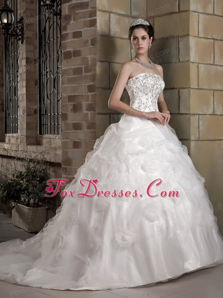 A-line Chapel Train Taffeta Organza Appliques Wedding Dress