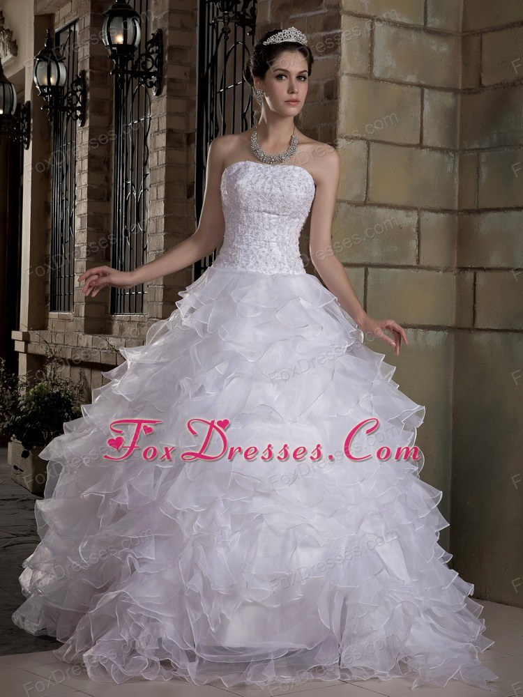 A-line Strapless Brush Train Wedding Dress Taffeta Organza