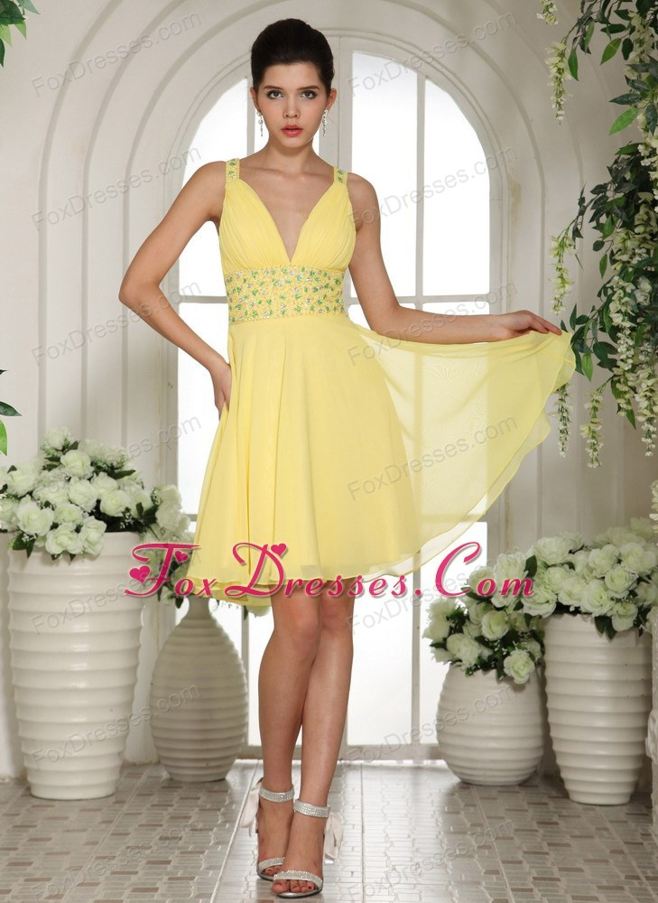 Short cheap yellow cocktail dresses