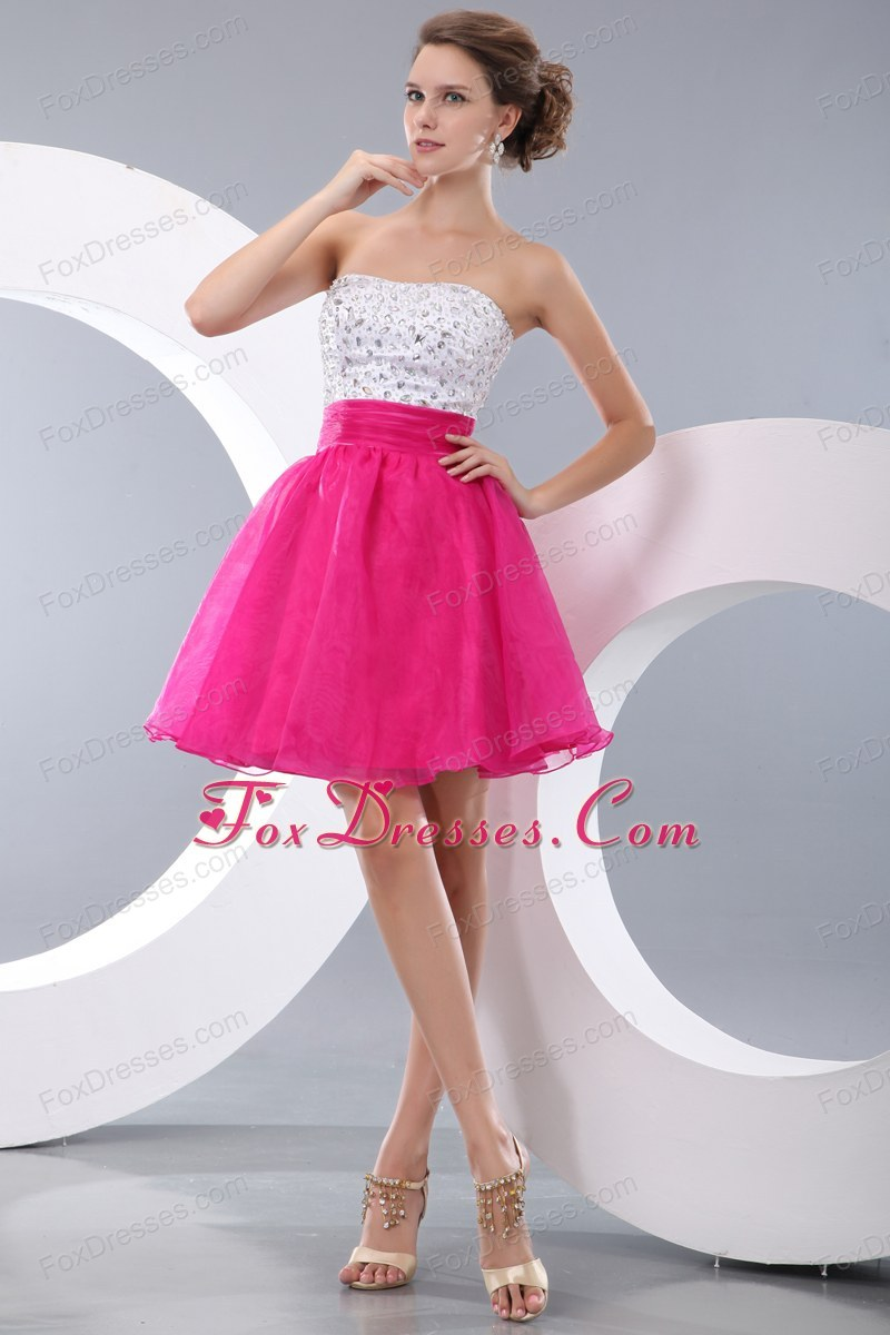Hot Pink Short Strapless Dress