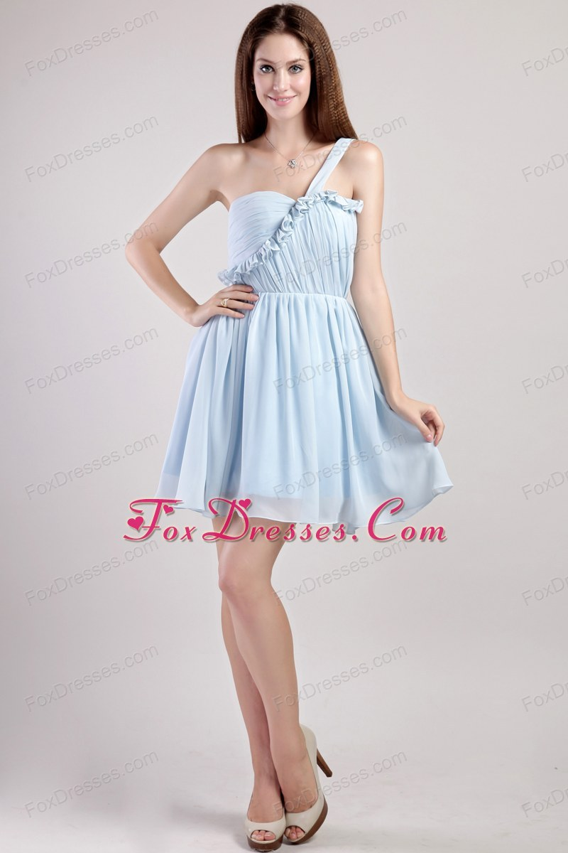 One Shoulder Prom Cocktail Dresses Light Blue