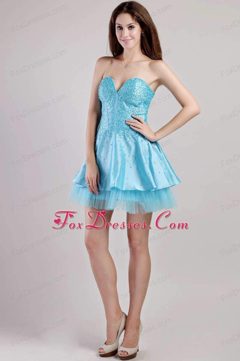 A-line Beading Mini-length Sweetheart Prom Holiday Dresses
