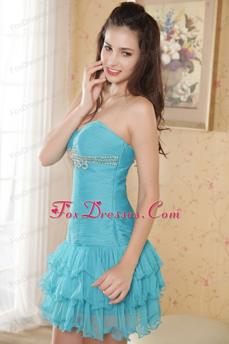Sweetheart Beading Prom Short Ruche Cocktail Dresses