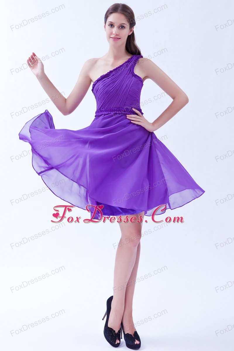 One Shoulder Purple Ruche Knee Length Prom Holiday Dresses