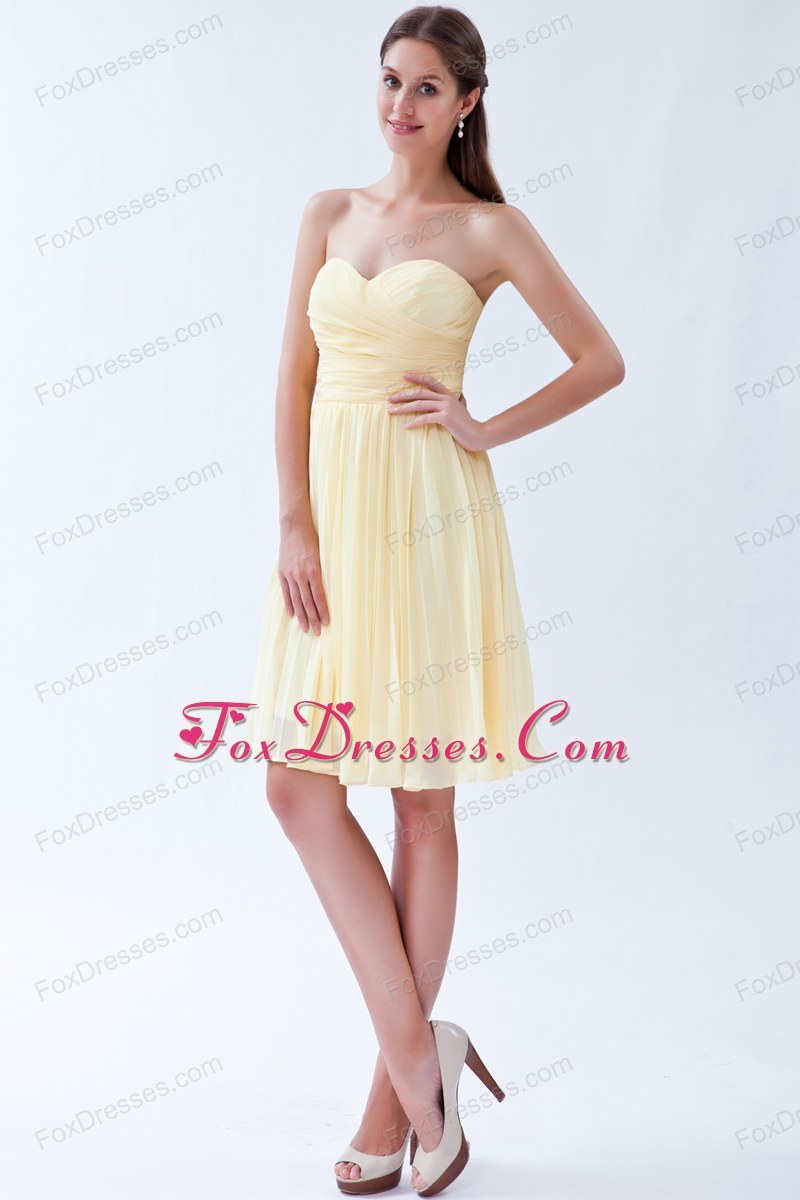 Light Yellow Prom Pageant Dress Sweetheart Knee-length