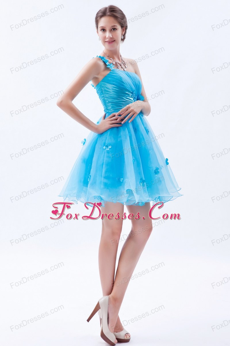 One Shoulder A-line Appliques Short Cocktail Homecoming Dresses