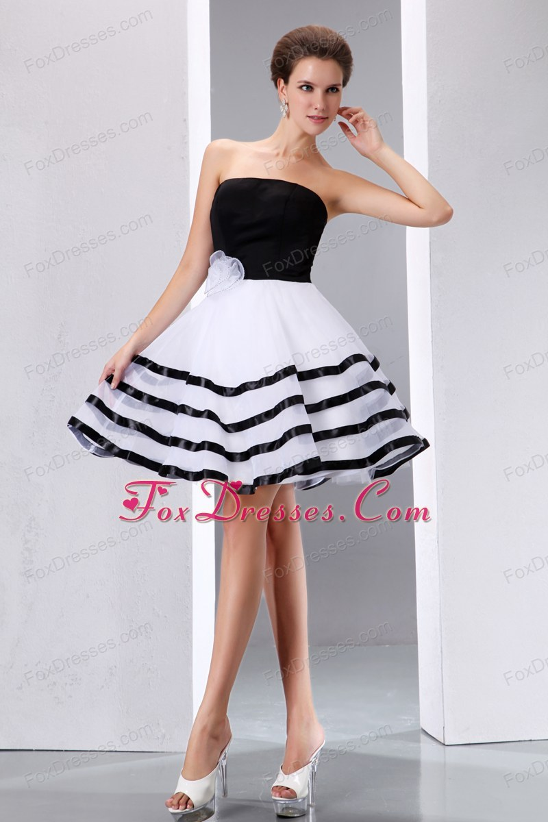 Black and White Prom Cocktail Dress Strapless Knee-length