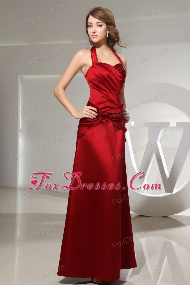 Halter Ruched Ankle-length Wine Red Satin Dama Dress